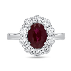 Diamond Halo Ruby Fashion Ring - R&R Jewelers
