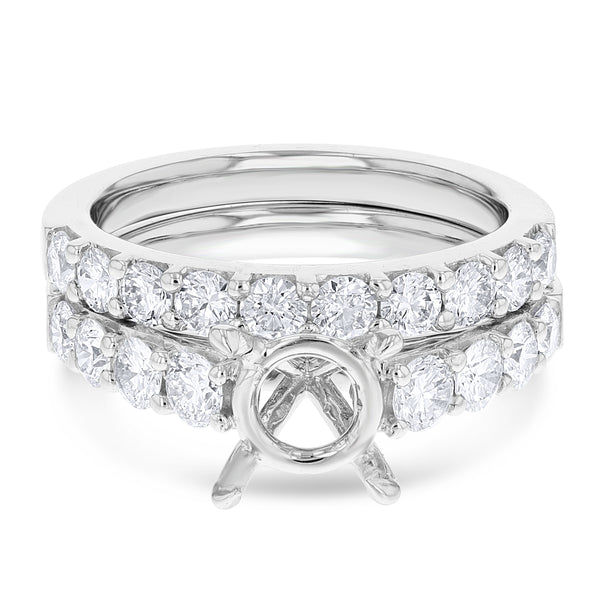 18K White Gold Wedding and Engagement Ring Set, 1.21 Carats
