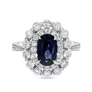 18K White Gold Diamond and Sapphire Ring, 4.10 Carats