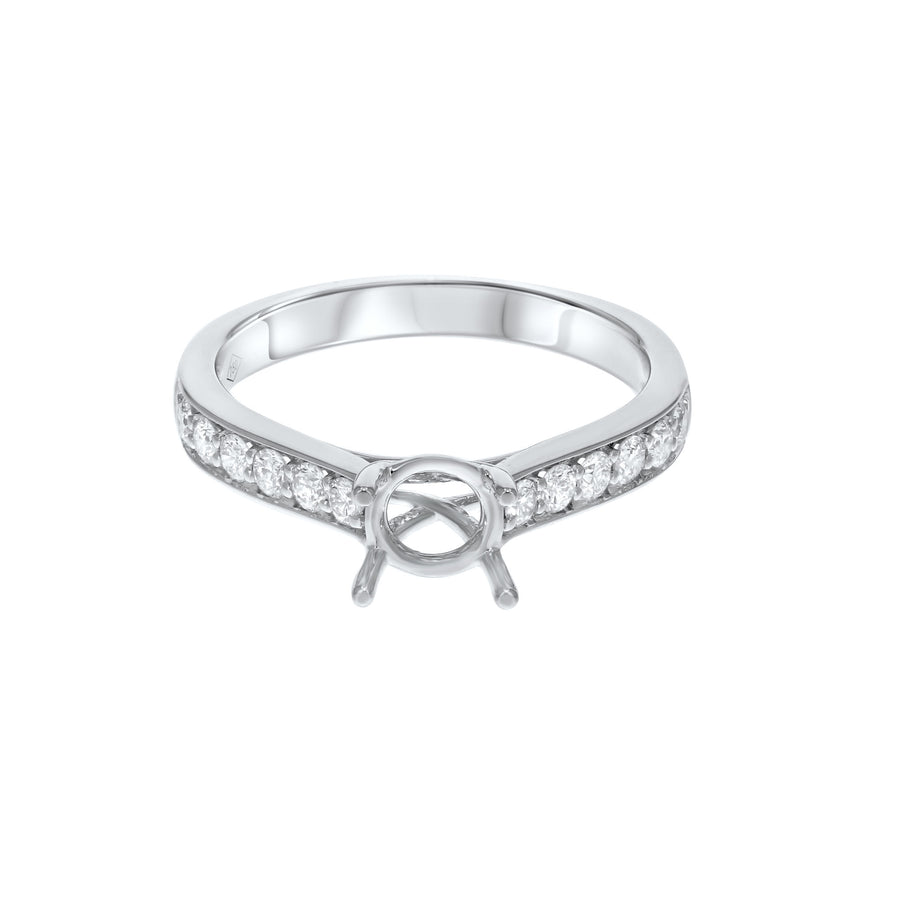 18K White Gold Semi-mount Ring, 0.35 Carats