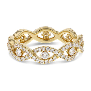 Diamond Yellow Gold Infinity Twist Eternity Band, 0.94 Carats
