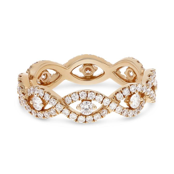 Diamond Rose Gold Infinity Twist Eternity Band, 0.96 Carats