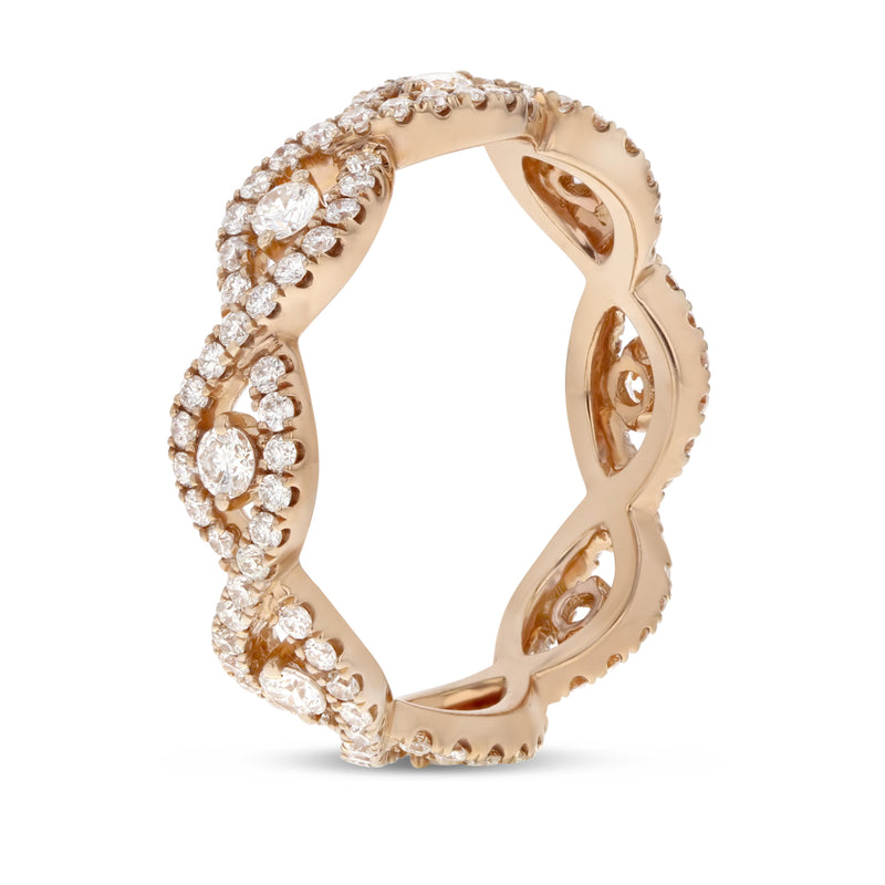 Diamond Rose Gold Infinity Twist Eternity Band, 0.96 Carats - R&R Jewelers