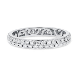Diamond White Gold 2 Row Micropavé Eternity Band, 0.84 Carats