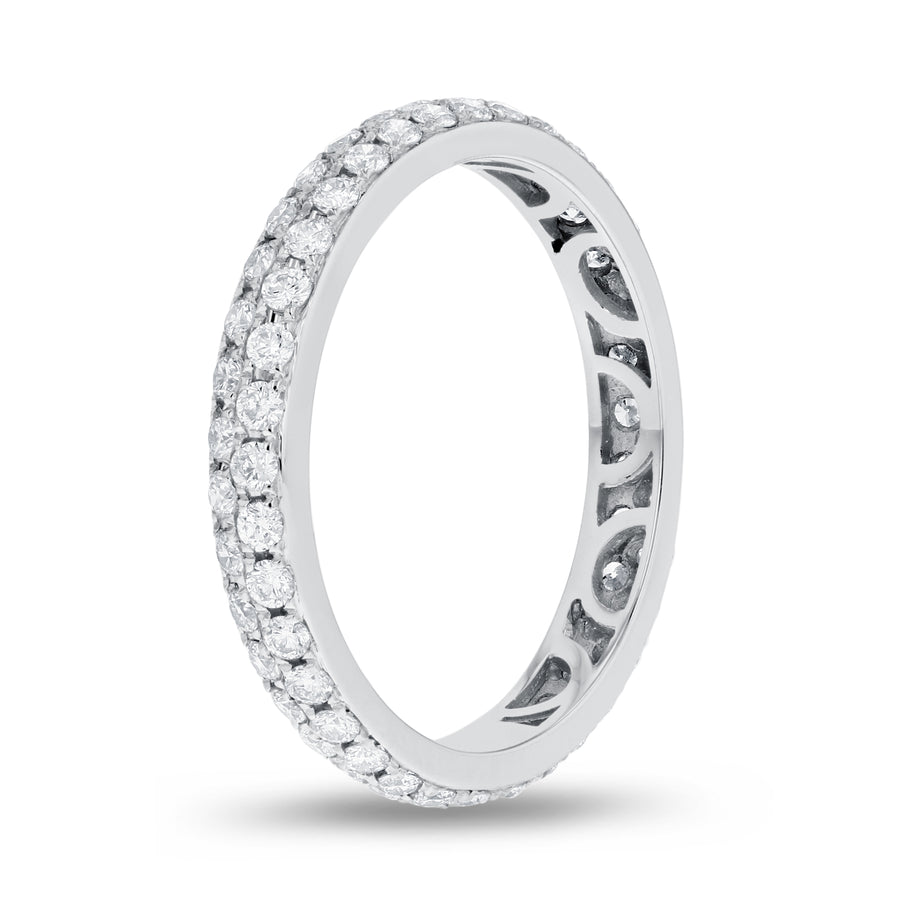 Diamond White Gold 2 Row Micropavé Eternity Band, 0.84 Carats - R&R Jewelers