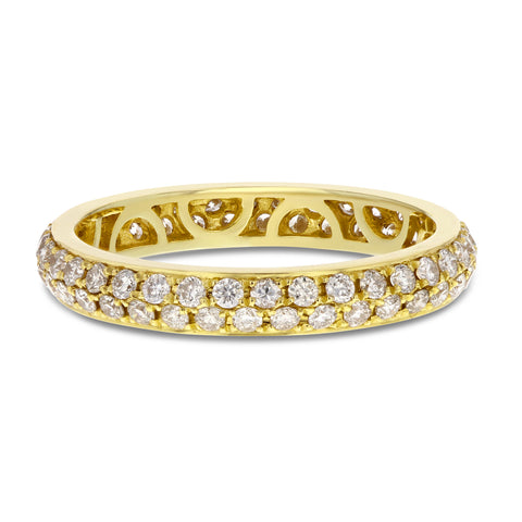 18K Yellow Gold Diamond Wedding Band, 0.88 Carats