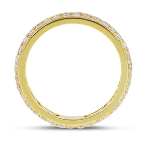 Diamond Yellow Gold 2 Row Micropavé Eternity Band, 0.88 Carats