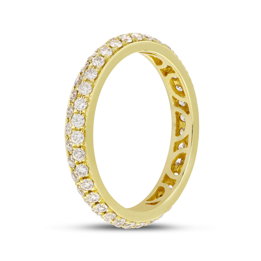 Diamond Yellow Gold 2 Row Micropavé Eternity Band, 0.88 Carats - R&R Jewelers