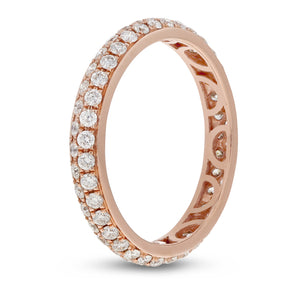 Diamond Rose Gold 2 Row Micropavé Eternity Band, 0.85 Carats