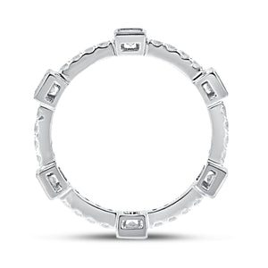 Diamond White Gold Petite Eternity Band, 0.79 Carats