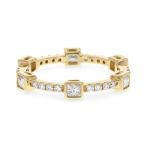 Diamond Yellow Gold Petite Eternity Band, 0.82 Carats