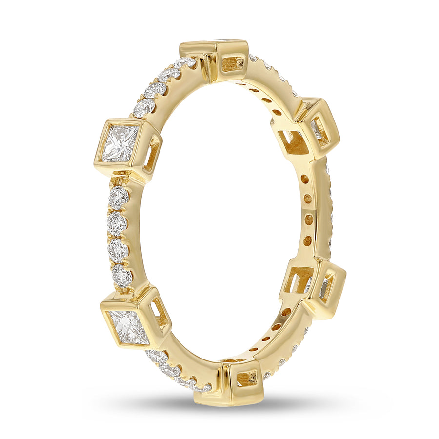 Diamond Yellow Gold Petite Eternity Band, 0.82 Carats - R&R Jewelers