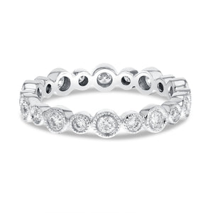 Diamond White Gold Bezel Set Ring, 0.69 Carats - R&R Jewelers