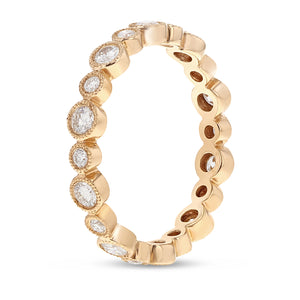 Diamond Rose Gold Bezel Set, 0.67 Carats