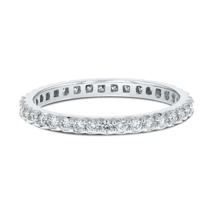 Diamond White Gold Petite Eternity Band, 0.47 Carats