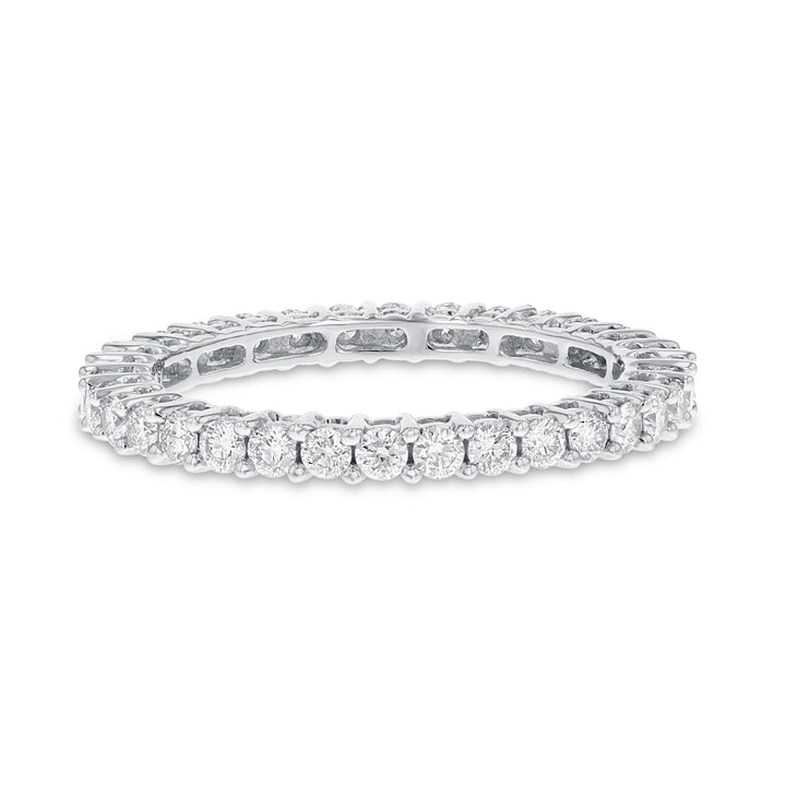 Diamond White Gold Petite Eternity Band, 0.85 Carats
