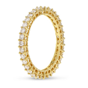 Diamond Yellow Gold Eternity Band, 0.88 Carats