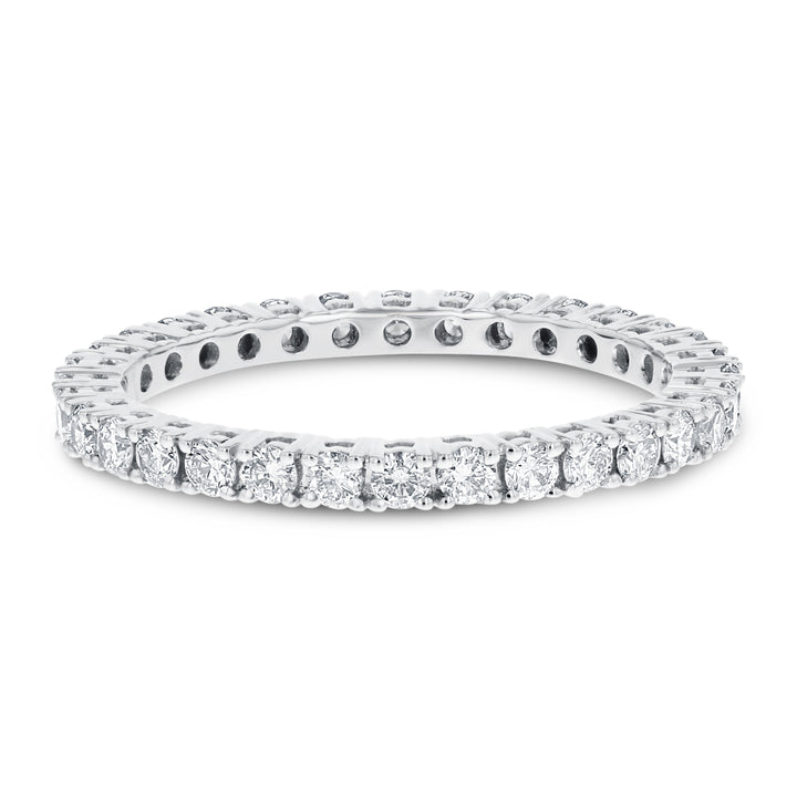Diamond White Gold Eternity Band, 0.79 Carats