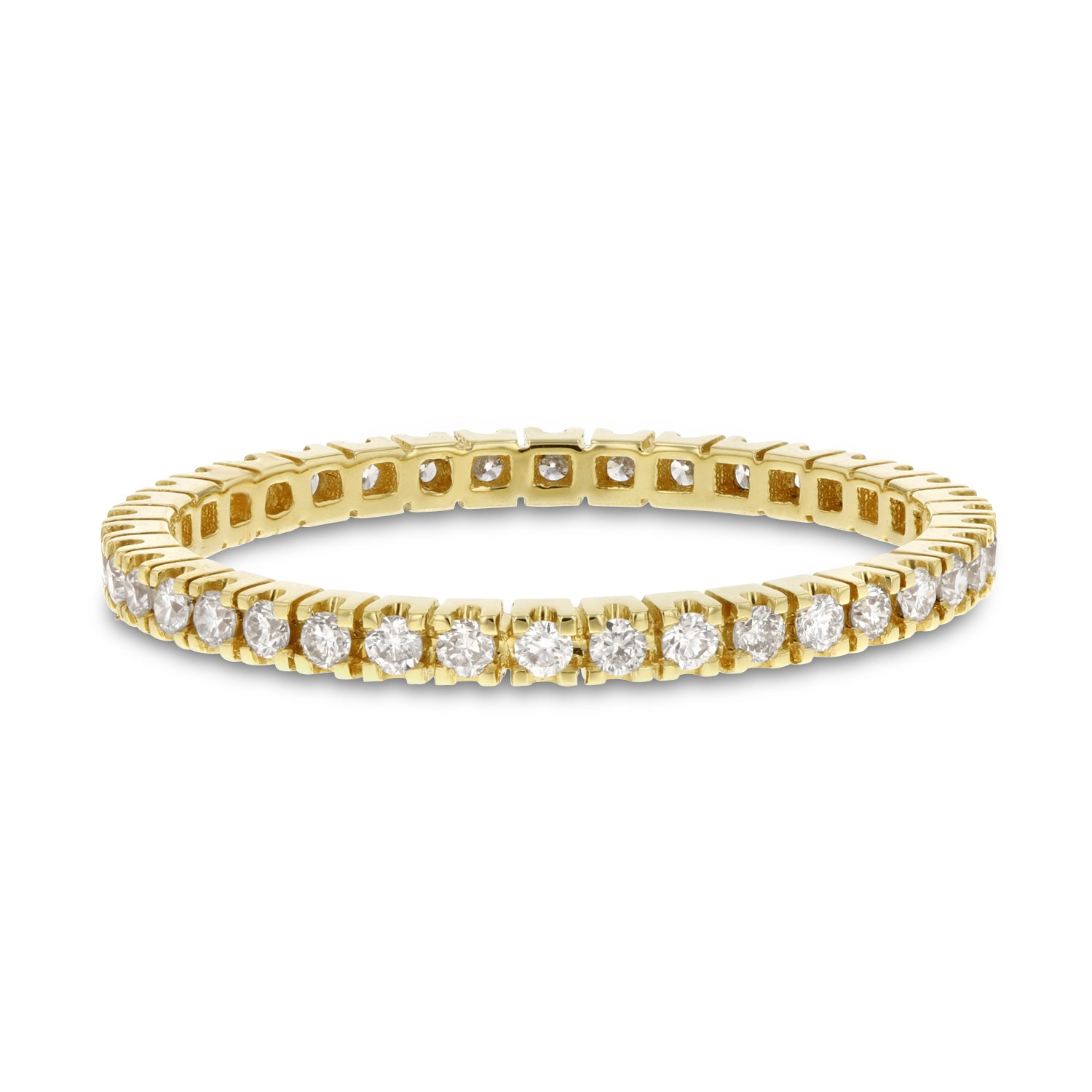 18K Yellow Gold Diamond Wedding Band, 0.35 Carats