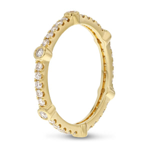 Diamond Yellow Gold Eternity Band, 0.51 Carats