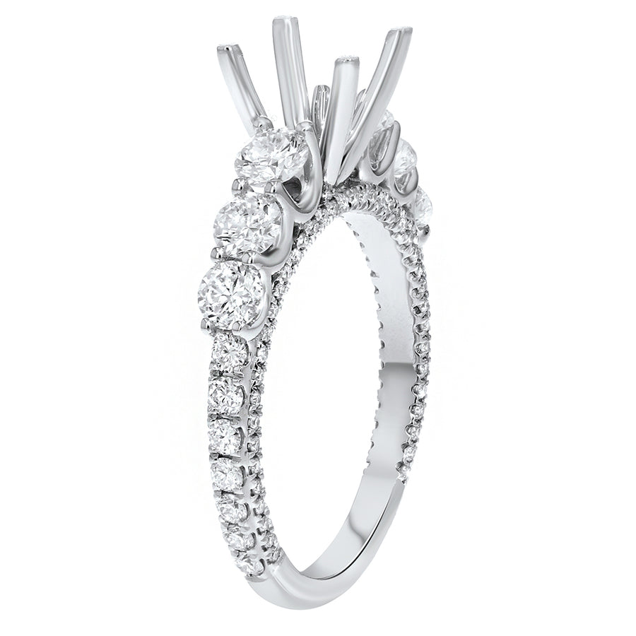 18K White Gold Semi-mount Ring, 1.32 Carats - R&R Jewelers