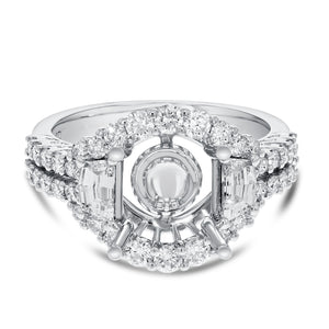 18K White Gold Semi-mount Ring, 1.40 Carats - R&R Jewelers