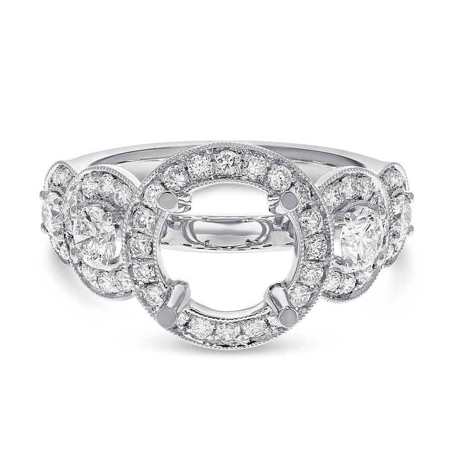 18K White Gold Semi-mount Ring, 0.95 Carats - R&R Jewelers