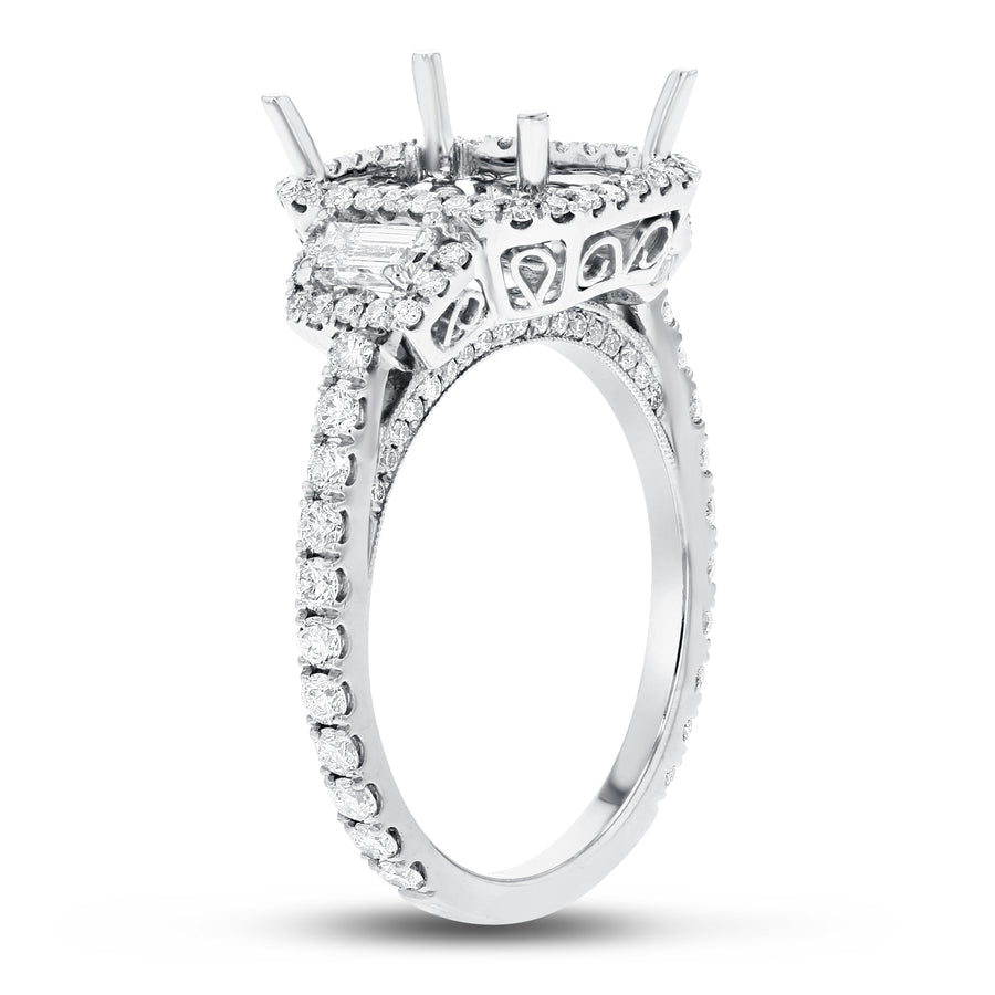 18K White Gold Semi-mount Ring, 1.08 Carats - R&R Jewelers