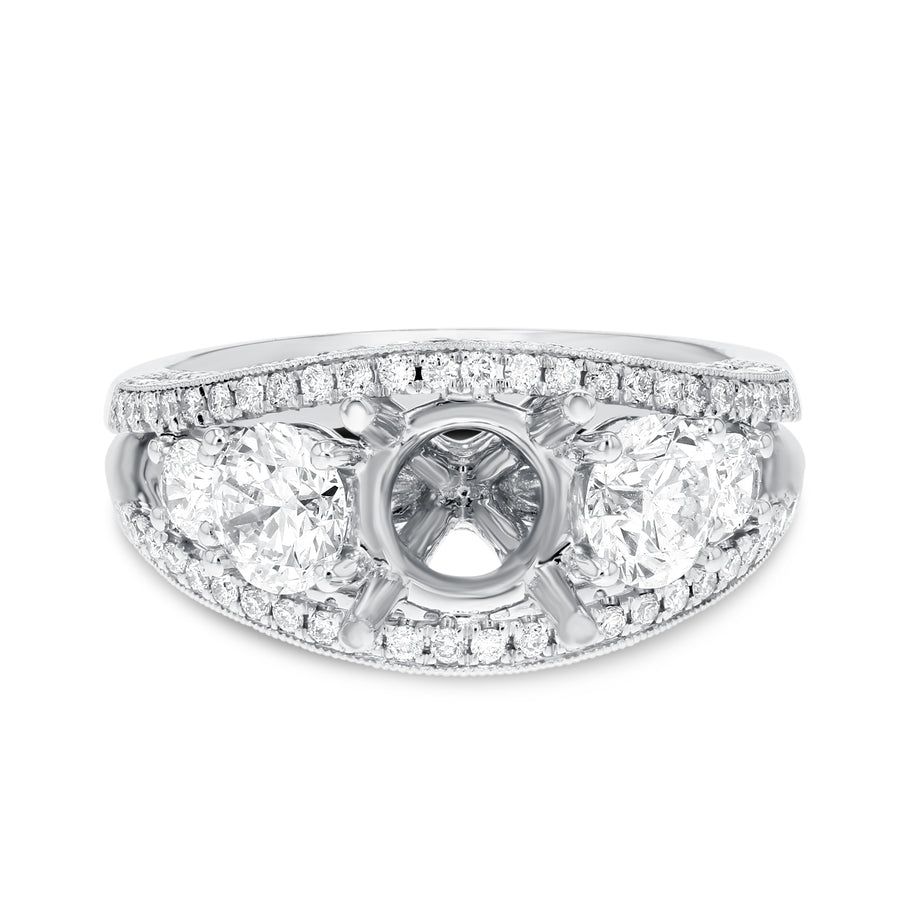 18K White Gold Semi-mount Ring, 1.81 Carats