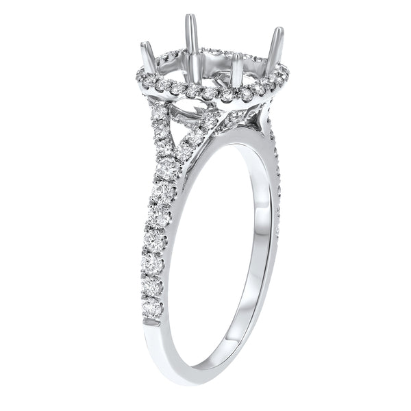 18K White Gold Semi-mount Ring, 0.66 Carats