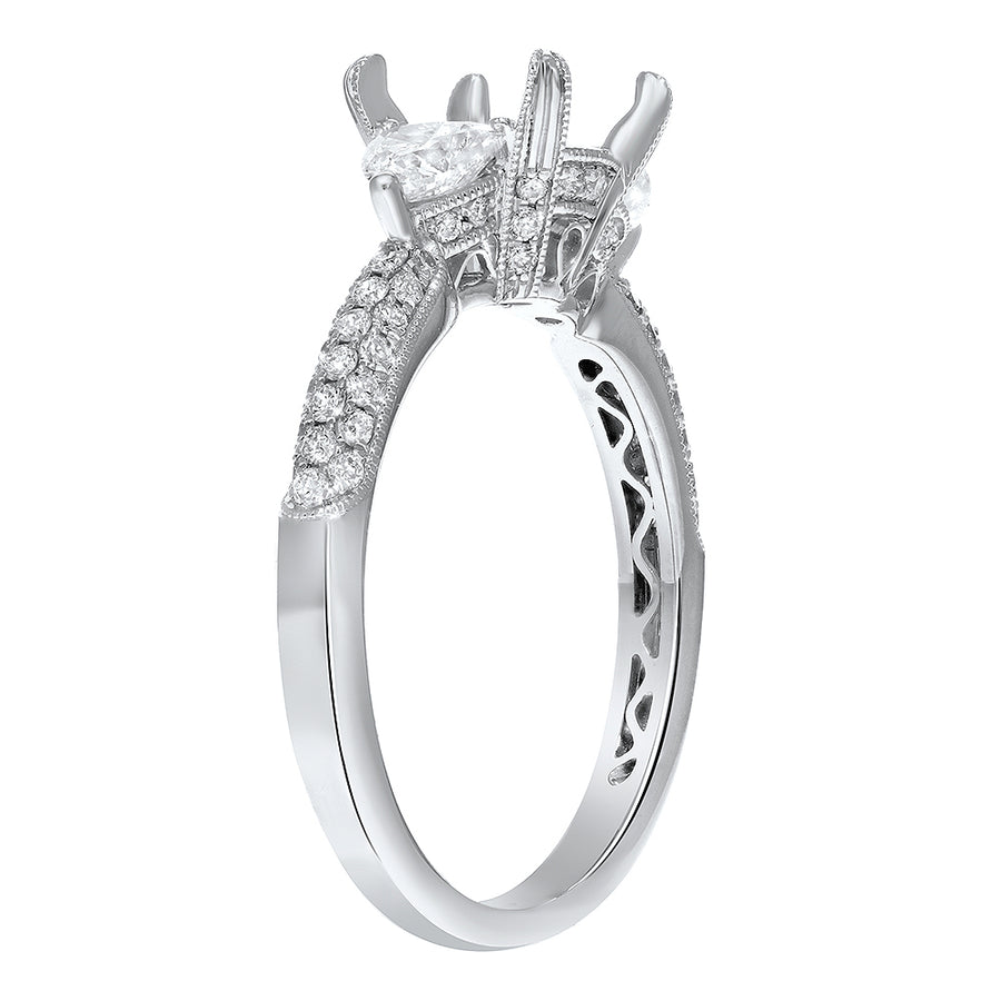 18K White Gold Semi-mount Ring, 0.81 Carats - R&R Jewelers