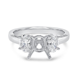 18K White Gold Semi-mount Ring, 1.06 Carats - R&R Jewelers