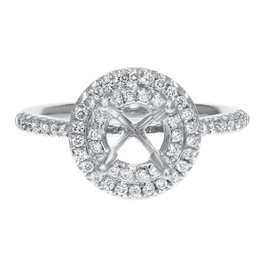 Double Halo Diamond Semi Mount Ring - R&R Jewelers