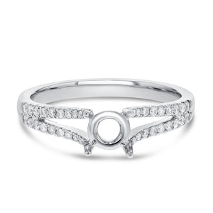 18K White Gold Semi-mount Ring, 0.23 Carats