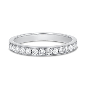 18K White Gold Diamond Wedding Band, 0.41 Carats