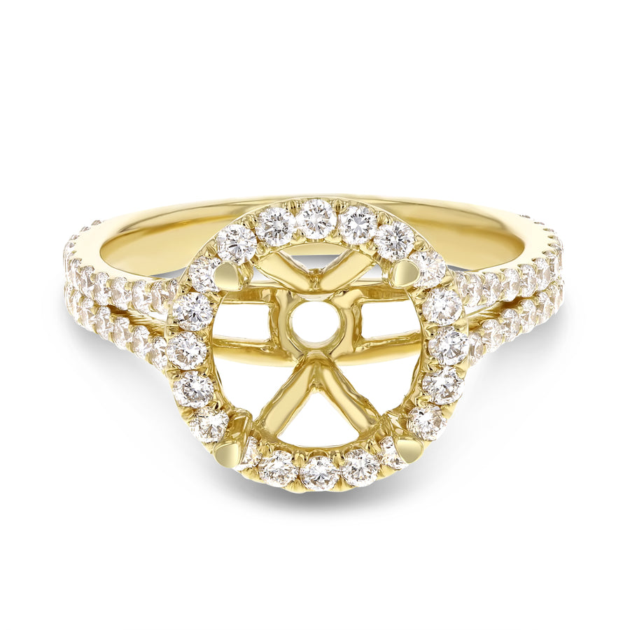 18K Yellow Gold Semi-mount Ring, 0.91 Carats