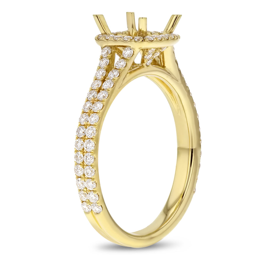 18K Yellow Gold Semi-mount Ring, 0.70 Carats