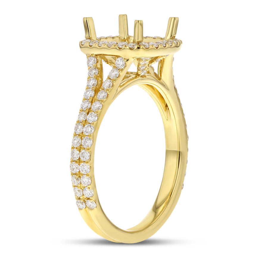 18K Yellow Gold Semi-mount Ring, 0.82 Carats