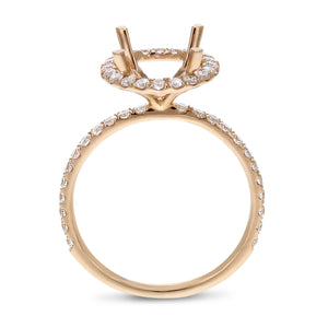 18K Rose Gold Semi-mount Ring, 0.60 Carats