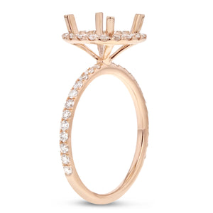 18K Rose Gold Semi-mount Ring, 0.67 Carats