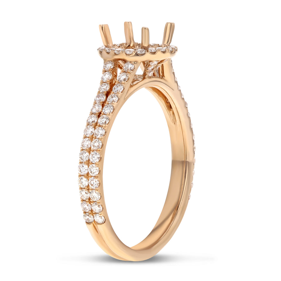 18K Rose Gold Semi-mount Ring, 0.63 Carats - R&R Jewelers