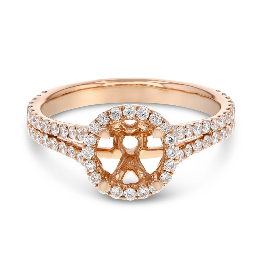 18K Rose Gold Semi-mount Ring, 0.76 Carats - R&R Jewelers