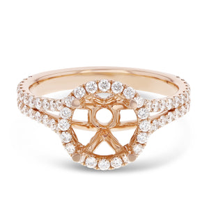18K Rose Gold Semi-mount Ring, 0.82 Carats