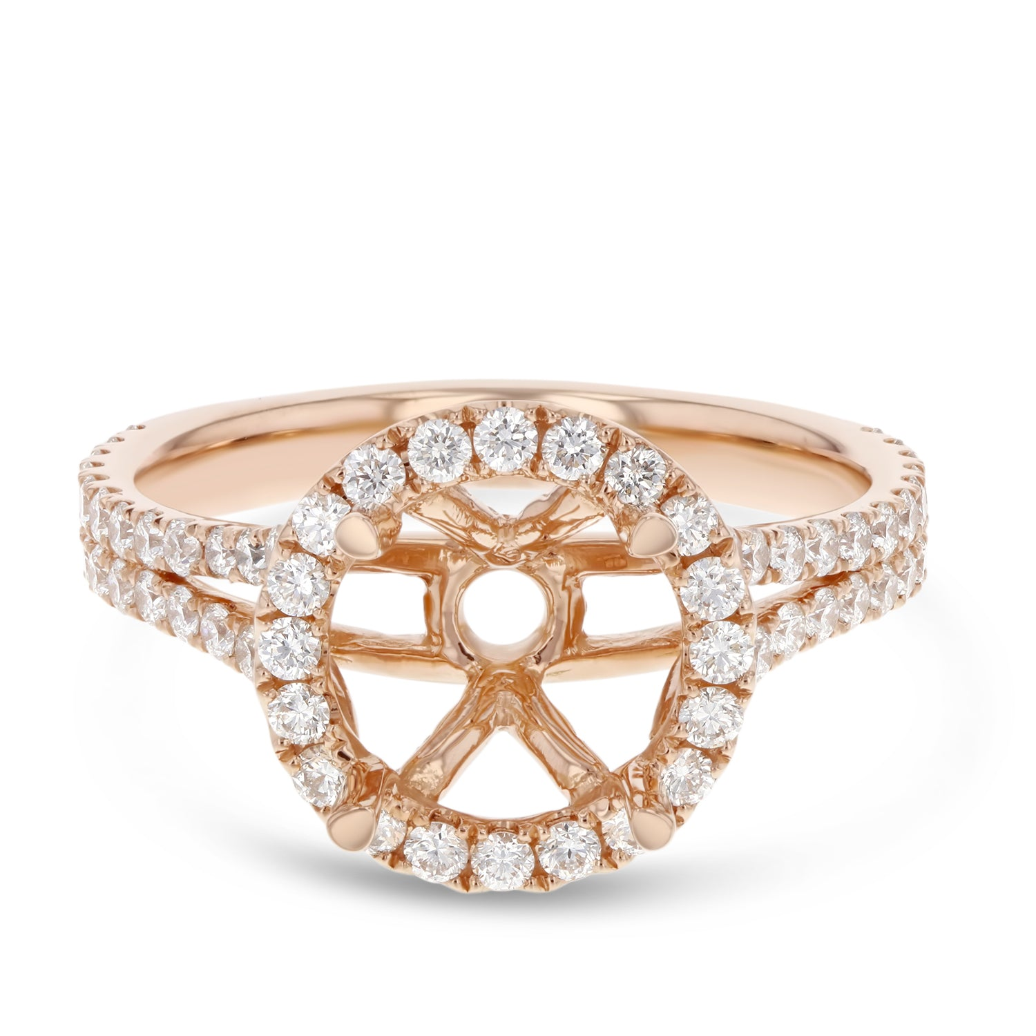 18K Rose Gold Semi-mount Ring, 0.91 Carats