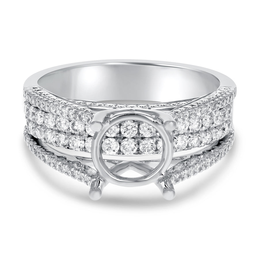 Four Row Diamond Semi Mount Ring - R&R Jewelers