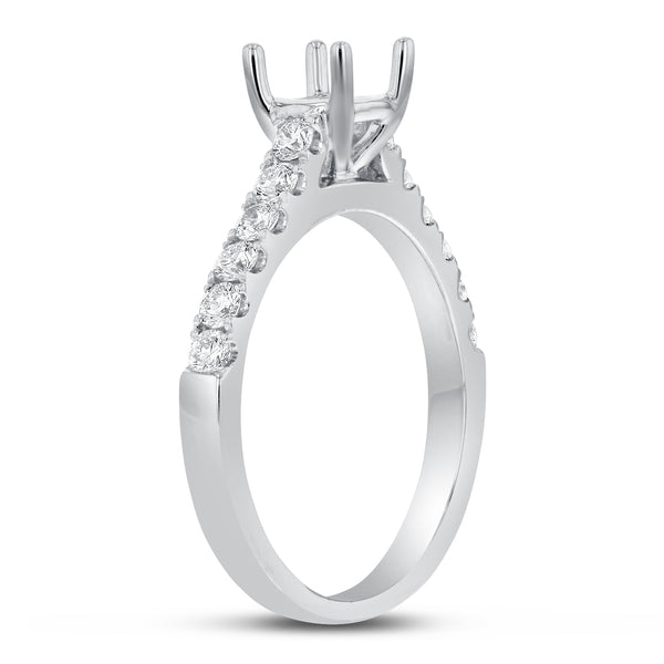 18K White Gold Semi-mount Ring, 0.50 Carats