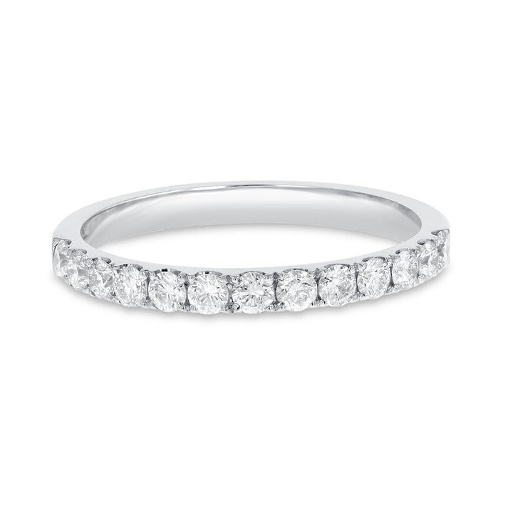 18K White Gold Diamond Wedding Band, 0.47 Carats