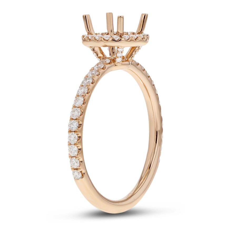 18K Rose Gold Semi-mount Ring, 0.49 Carats - R&R Jewelers
