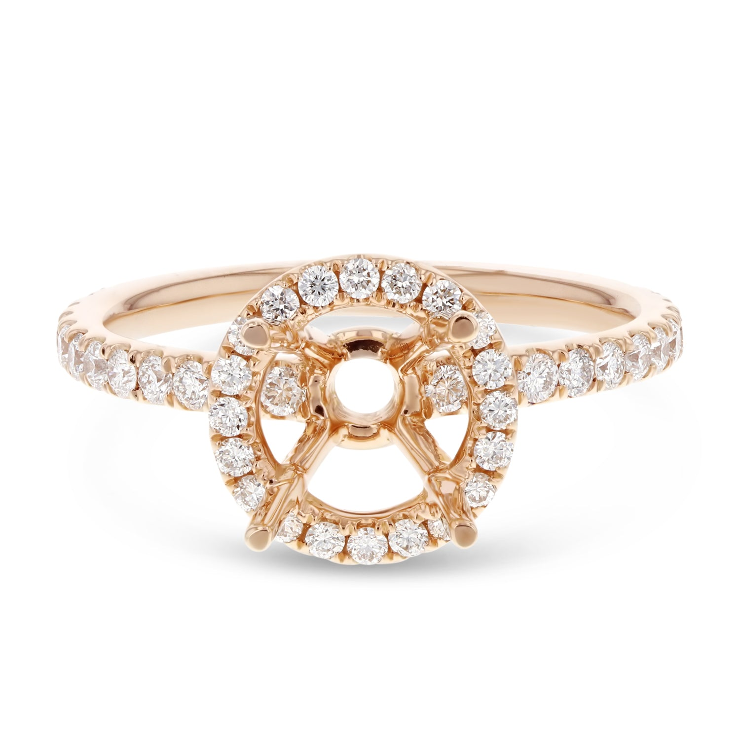 18K Rose Gold Semi-mount Ring, 0.61 Carats