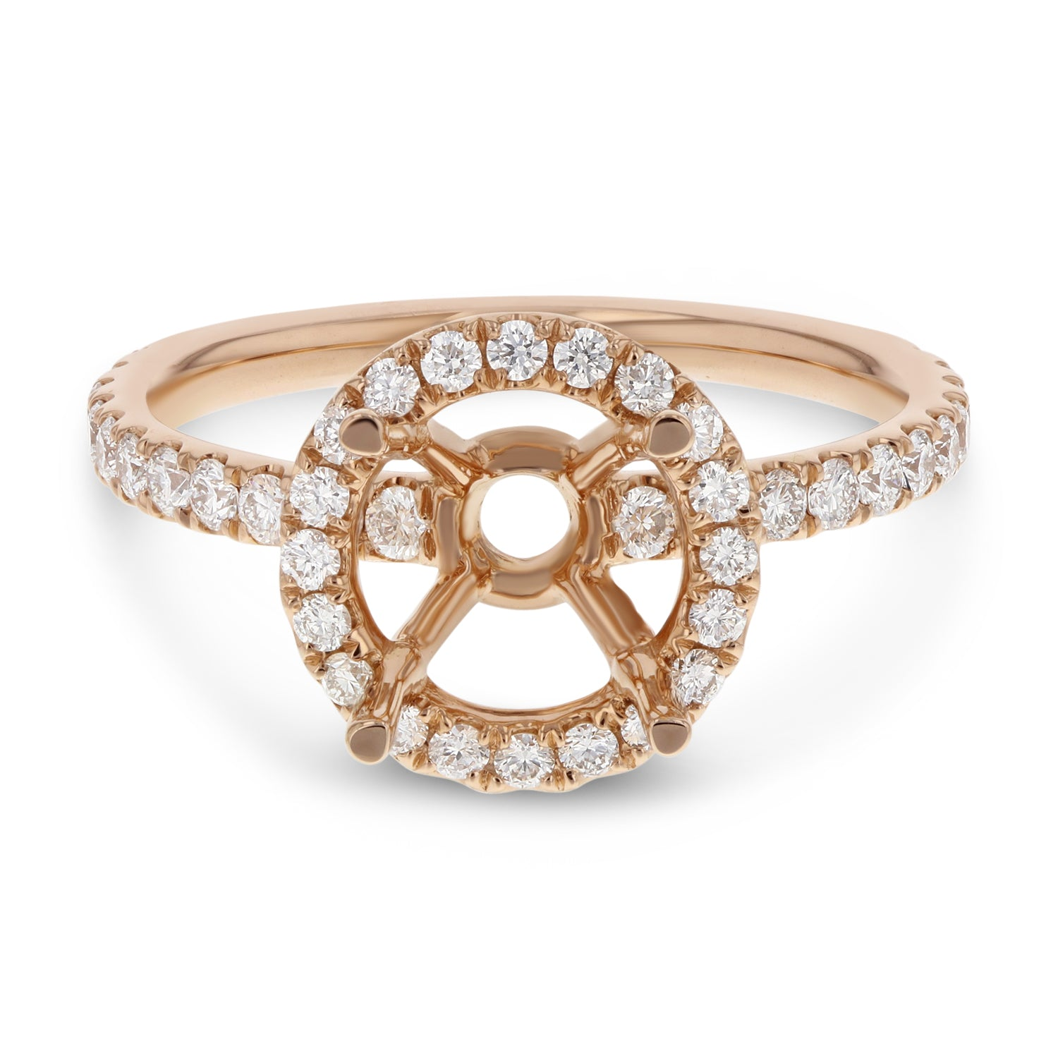 18K Rose Gold Semi-mount Ring, 0.64 Carats